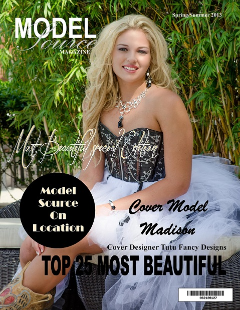 Tutu Fancy Designs Corset and Tutu set with matching Jewelry on the cover of Model Source Magazine